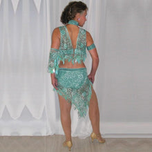 Load image into Gallery viewer, back view of aqua 2piece lace Latin dress