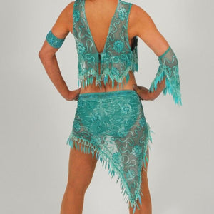 close back view of aqua 2piece lace Latin dress