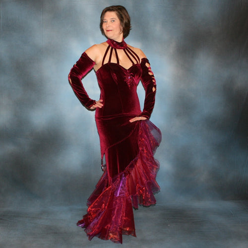 Crystal's Creations Burgundy tango dress created in luxurious burgundy stretch velvet, with flounces of iridescent burgundy organza, adorned with fuchsia Swarovski rhinestones, hip sash has Swarovski hand beading as well, just recently embellished more.