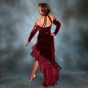 Crystal's Creations back view of burgundy tango dress created in luxurious burgundy stretch velvet