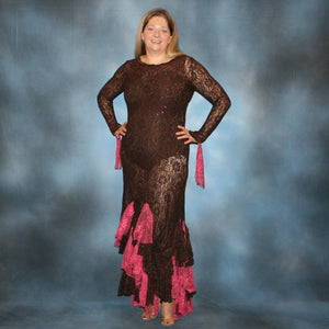 Crystal's Creations Brown lace tango dress, fabulous bolero dress or rumba dress created in luxurious chocolate brown stretch lace with accent flounces of a deep pink glitter lace, embellished with Swarovski rhinestone detail work in copper & fuschia.