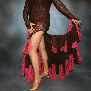 Crystal's Creations left side bottom detail view of Brown lace tango dress, fabulous bolero dress or rumba dress created in luxurious chocolate brown stretch lace with accent flounces of a deep pink glitter lace, embellished with Swarovski rhinestone detail work in copper & fuschia.