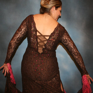 Crystal's Creations close up back view of Brown lace tango dress, fabulous bolero dress or rumba dress created in luxurious chocolate brown stretch lace with accent flounces of a deep pink glitter lace, embellished with Swarovski rhinestone detail work in copper & fuschia.