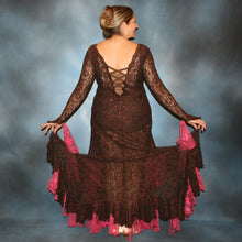 Load image into Gallery viewer, Cystal's Creations back view of Brown lace tango dress, fabulous bolero dress or rumba dress created in luxurious chocolate brown stretch lace with accent flounces of a deep pink glitter lace, embellished with Swarovski rhinestone detail work in copper & fuschia.