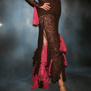 Crystal's Creations bottom detail view of Brown lace tango dress, fabulous bolero dress or rumba dress created in luxurious chocolate brown stretch lace with accent flounces of a deep pink glitter lace, embellished with Swarovski rhinestone detail work in copper & fuschia.