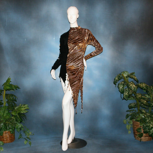 Crystal's Creations Slinky Latin/rhythm dress or tunic top created of luxurious black slinky & Serengeti print burnout velvet is embellished with Swarovski hand beading, is fabulous as a Latin/rhythm dress if you love to show your legs...or...you can team it as a tunic top with skirts or pants!