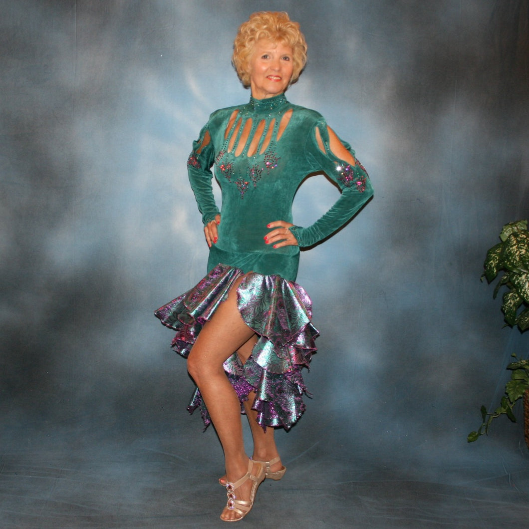 Crystal's Creations Teal Latin/rhythm dress was created in luxurious teal solid slinky with teal & rose metallic brocade peacock print flounces, & embellished with fuchsia Swarovski rhinestone detailing