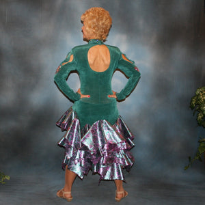 Crystal's Creations back view of Teal Latin/rhythm dress was created in luxurious teal solid slinky with teal & rose metallic brocade peacock print flounces, & embellished with fuchsia Swarovski rhinestone detailing