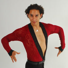 Load image into Gallery viewer, Crystal's Creations men's deep red Latin shirt