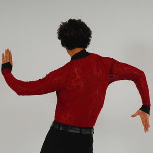 Crystal's Creations back view of men's deep red Latin shirt
