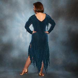 Crystal's Creations back view of deep blue social Latin dress created in deep blue luxurious solid slinky with hand beading