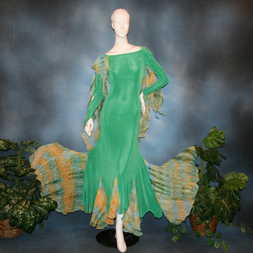 Crystal's Creations Gorgeous green ballroom dress created in luxurious solid slinky fabric with printed chiffon of greens, with gold accents insets. Very full around bottom...can be a beginner ballroom dancer smooth or standard dress.