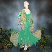 Load image into Gallery viewer, Crystal's Creations back view of green slinky social ballroom dress