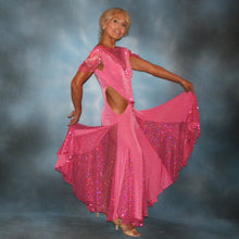 Load image into Gallery viewer, Crystal's Creations side view of Pink ballroom dress was created of luxurious bubble gum pink solid slinky with yards & yards of delicate deep pink sequin insets & is embellished with CAB & rose Swarovski detailed rhinestone work