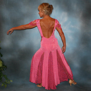 Crystal's Creations back view of Pink ballroom dress was created of luxurious bubble gum pink solid slinky with yards & yards of delicate deep pink sequin insets & is embellished with CAB & rose Swarovski detailed rhinestone work