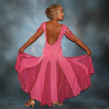 Load image into Gallery viewer, Crystal's Creations back view of Pink ballroom dress was created of luxurious bubble gum pink solid slinky with yards & yards of delicate deep pink sequin insets & is embellished with CAB & rose Swarovski detailed rhinestone work