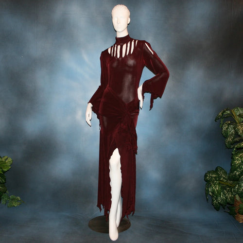 Burgundy sarong style Latin/rhythm paneled skirt, matching bodysuit featuring flared arms with cutout details created of luxurious burgundy solid slinky. Great for any ballroom dance, ballroom dance teachers or social event!