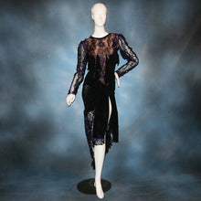 Load image into Gallery viewer, Black & purple bodysuit & hip wrap style Latin/rhythm dance skirt made of black luxurious solid slinky & gorgeous metallic black & deep purple soutache lace. Opaque nude fabric is behind the lace on the bodice, so it can be worn with a bra. The skirt also features ribbon fringe along with Swarovski hand beading of Swarovski beads in various shapes on the skirt sash.