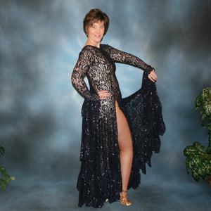 Crystal's Creations Navy blue Tango dress or paso doble dress created in navy metallic stretch lace that has lavender metallic throughout, with very full skirting & lots of flounces. It features slits up both legs up to the hip, with delicate scallop edging around neck & back edges.