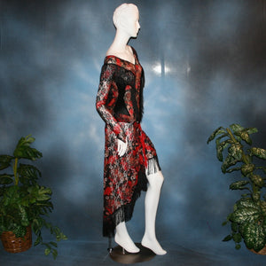 side view of Lace bodysuit & Latin/rhythm skirt created in red, black, and a touch of white stretch lace with chainette fringe trim. Fun dance set for any social ballroom dance, beginner ballroom showdance dress, or ballroom dance teachers!