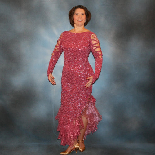 Crystal's Creations Rose Latin/rhythm dress created of rose colored slinky glitterknit, featuring barcelona lace & glitter organza flounces, embellished with Swarovski hand beading in shades of rose & rose gold, making it a fabulous rumba dress, bolero dress or tango dress, for ballroom show dancing or any special dancing occasion!