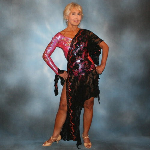 Hologram & black lace tango dress created in hologram lycra of a gorgeous medium burgundy/rose coloring with touches of orange has an overlay of a gorgeous black stretch lace, embellished with Swarovski rhinestone work in orange hyacynth, paparadasha, light rose AB & burgundy.