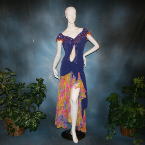 Crystal's Creations Converta ballroom dress featuring a Latin dress created in luxurious deep perwinkle solid slinky with lots of flounces in accents of a floral chiffon in yellow with pinks & purples