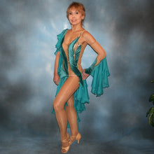 Load image into Gallery viewer, Crystal's Creations side view of teal Latin dress created in luxurious teal glitter stretch velvet