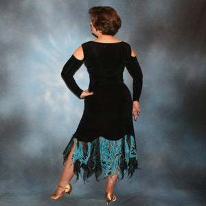 Crystal's Creations back view of black converta ballroom dress created in luxurious black slinky with tuquoise, green & black tropical print