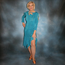 Load image into Gallery viewer, Turquoise Latin/rhythm skirt & bodysuit featuring keyhole back & flaired sleeves of turquoise with a touch of purple glitterknit slinky,  only one of this exact fabric.