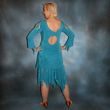 Load image into Gallery viewer, back view of Turquoise Latin/rhythm skirt & bodysuit featuring keyhole back & flaired sleeves of turquoise with a touch of purple glitterknit slinky,  only one of this exact fabric.