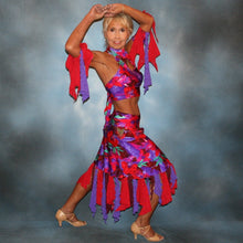 Load image into Gallery viewer, Crystal's Creations Tropical print 2 piece Latin dress was created in tropical print lycra in deep reds