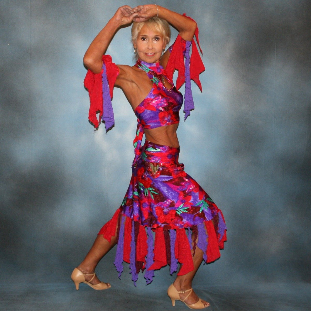 Crystal's Creations Tropical print 2 piece Latin dress was created in tropical print lycra in deep reds