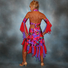 Load image into Gallery viewer, Crystals' Creations back view of Tropical print 2 piece Latin dress was created in tropical print lycra in deep reds