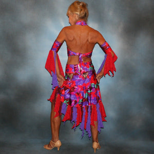 Crystals' Creations back view of Tropical print 2 piece Latin dress was created in tropical print lycra in deep reds