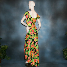 Load image into Gallery viewer, back view of tropical print bodysuit & ballroom skirt