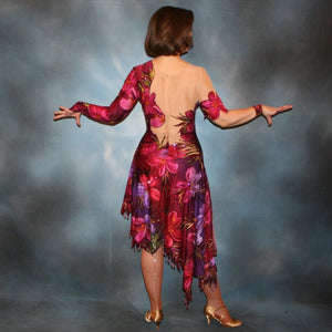 Crystal's Creations back view of Tropical print Latin/rhythm dress created in tropical print lycra in burgundies & purples on a nude illusion base, embellished lavishly with Swarovski rhinestone work in burgundies, purples, orchids & a touch of the greens & golds that are within the print.