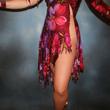Load image into Gallery viewer, close lower view of Tropical print Latin/rhythm dress created in tropical print lycra in burgundies & purples on a nude illusion base, embellished lavishly with Swarovski rhinestone work in burgundies, purples, orchids & a touch of the greens & golds that are within the print.
