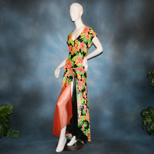 Load image into Gallery viewer, side view of tropical print bodysuit & ballroom skirt