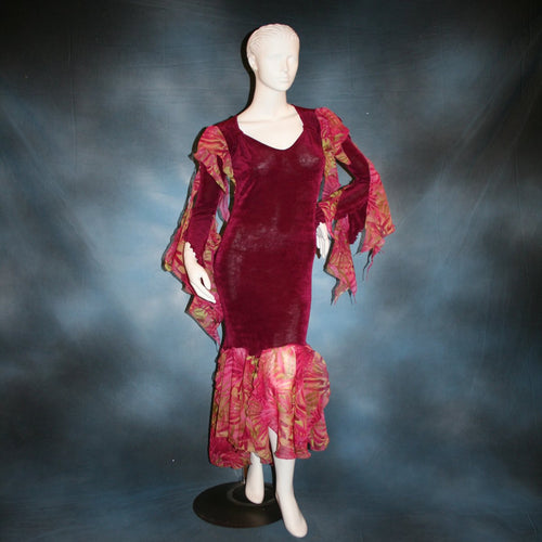 Cranberry sleek social Latin/rhythm dress created in luxurious cranberry solid slinky fabric with printed sheer flounces & floats.