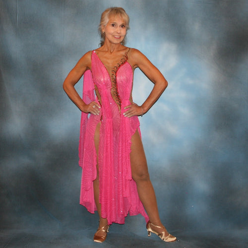 Crystal's Creations Pink Latin/rhythm dress created of sheer swirls glitterknit on nude illusion base has the look of a Greek Goddess & is embellished with Swarovski stonework in Indian pink & bronze.
