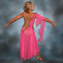 Load image into Gallery viewer, Crystal's Creations back view of pink Latin dress