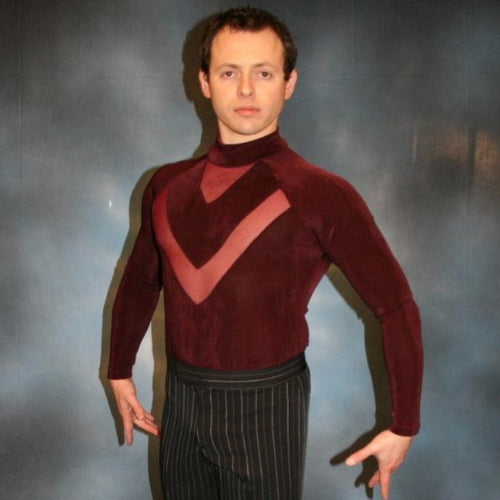 Crystal's Creations men's burgundy Latin shirt
