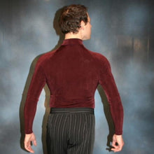 Load image into Gallery viewer, Crystal's Creations back view of burgundy men's Latin shirt