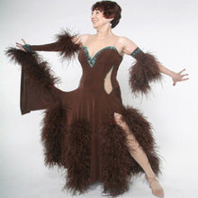 Load image into Gallery viewer, Crystal's Creations brown ballroom dress with feathers