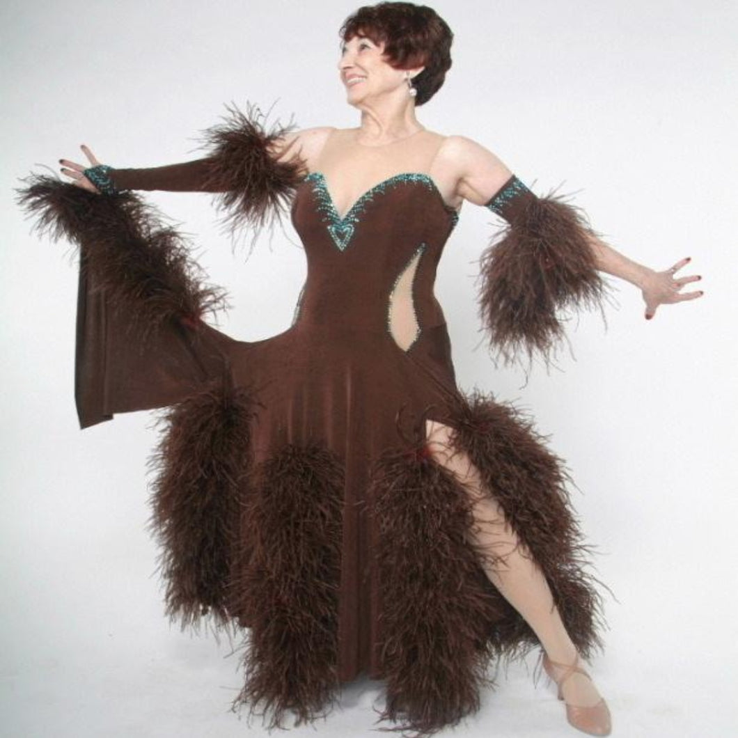 Crystal's Creations brown ballroom dress with feathers