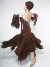 Load image into Gallery viewer, Crystal's Creations side view of brown ballroom dress with feathers