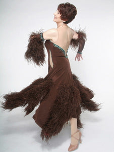 Crystal's Creations side view of brown ballroom dress with feathers