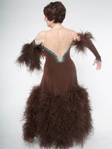 Crystal's Creations back view of brown ballroom dress with feathers