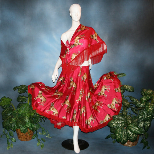 Crystal's Creations red ballroom skirt & shawl created in red satin with cheetah print